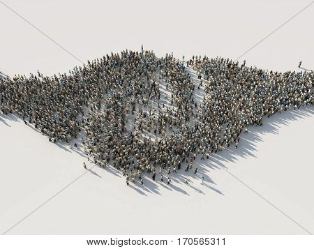 two opposition crowds are mixed, 3d illustration
