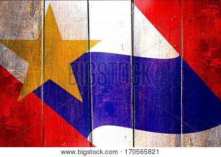Vintage Lafayette flag on grunge wooden panel
