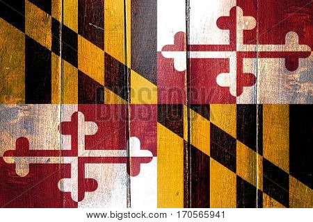 Vintage maryland flag on grunge wooden panel