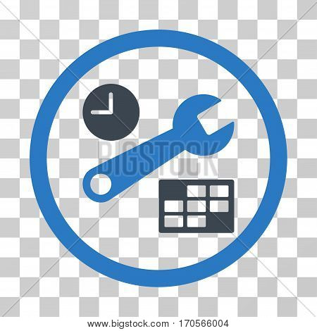 Date And Time Setup rounded icon. Vector bicolor illustration style is a flat iconic symbol inside a circle smooth blue colors transparent background. Designed for web and software interfaces.