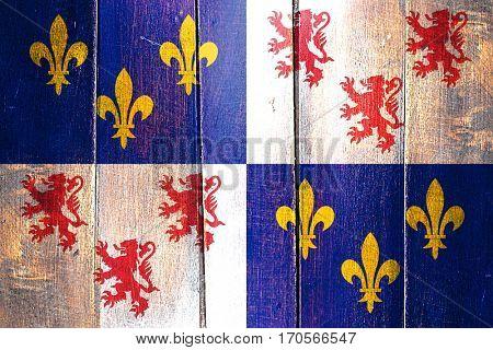 Vintage Picardie flag on grunge wooden panel