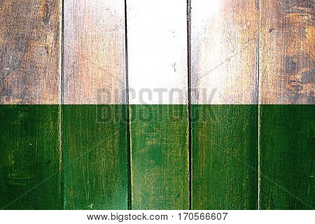 Vintage Saxony / Sachsen flag on grunge wooden panel