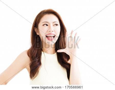 closeup Beautiful young asian woman shouting isolated