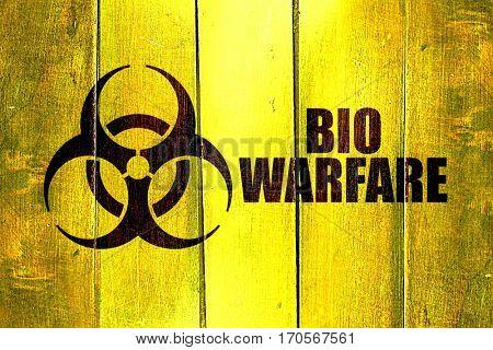 Vintage Bio warfare on a grunge wooden panel