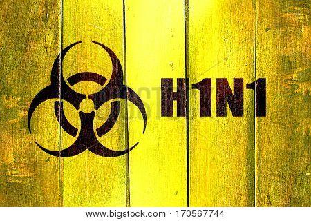 Vintage H1N1 on a grunge wooden panel