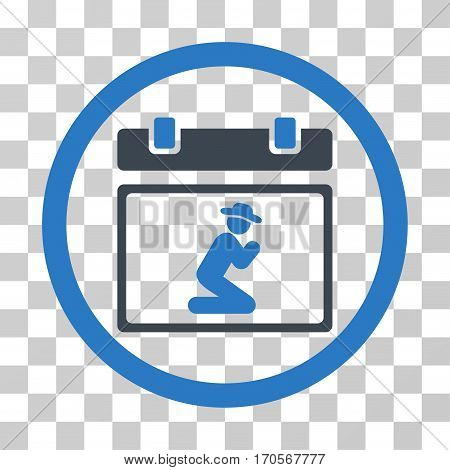 Pray Date rounded icon. Vector bicolor illustration style is a flat iconic symbol inside a circle smooth blue colors transparent background. Designed for web and software interfaces.