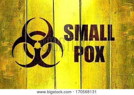 Vintage Smallpox on a grunge wooden panel