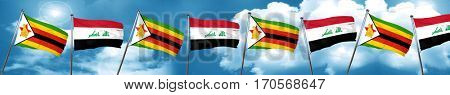 Zimbabwe flag with Iraq flag, 3D rendering