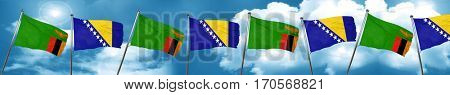 Zambia flag with Bosnia and Herzegovina flag, 3D rendering
