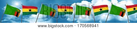 Zambia flag with Ghana flag, 3D rendering