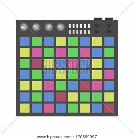 Creative modern musical instruments concept midi launchpad isolated on white. Cable club commutation delayed dj drum. Acoustic art concert equipment.
