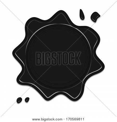 black wax seal or signet isolated on white