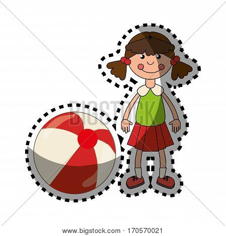 sticker colorful doll with ball toy vector illustration