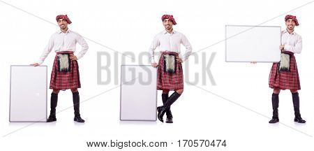Scotsman with blank board on white