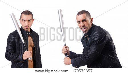 Violent man with baseball bat on white