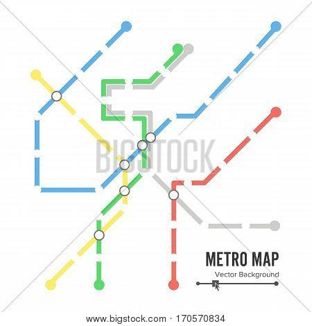 Metro Map Vector. Subway Map Design Template. Colorful Background With Stations.