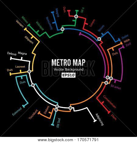 Metro Map Vector. Imaginary Underground Map. Colorful Background With Stations.