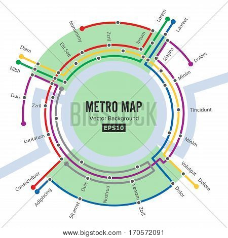 Metro Map Vector. Template Of City Transportation Scheme For Underground Road. Colorful Background With Stations.