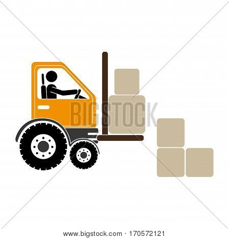 forklift truck with pictogram driver and boxes vector illustration