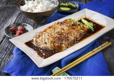 Fish Teriyaki with Rice