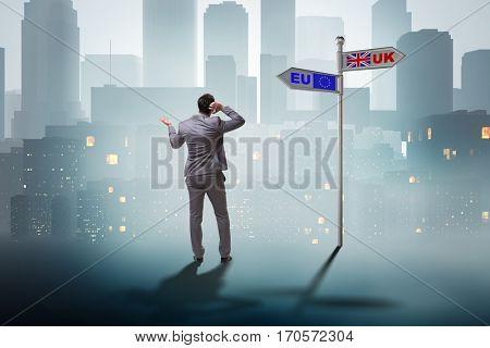Businessman in Brexit concept - UK leaving EU