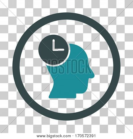 Time Thinking rounded icon. Vector bicolor illustration style is a flat iconic symbol inside a circle soft blue colors transparent background. Designed for web and software interfaces.