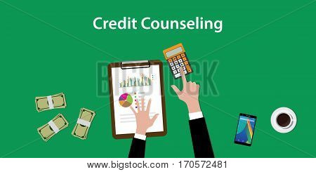 credit counseling concept illustration with a man counting on a paperworks and using a calculator vector