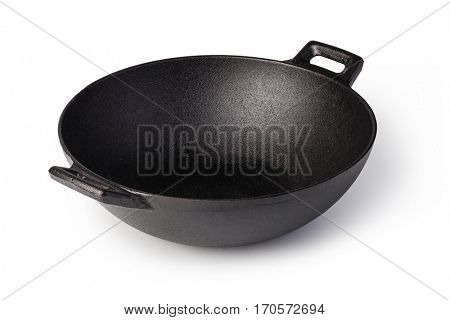 iron wok isolated on white background