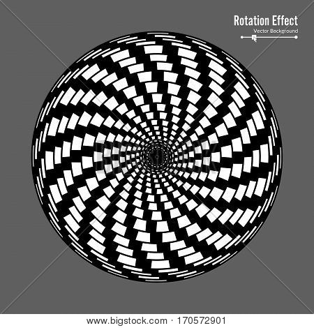 Optical Illusion. Vector 3d Art. Rotation Dynamic Effect. Spin Cycle. Swirl Pool Rings. Geometric Magic Background