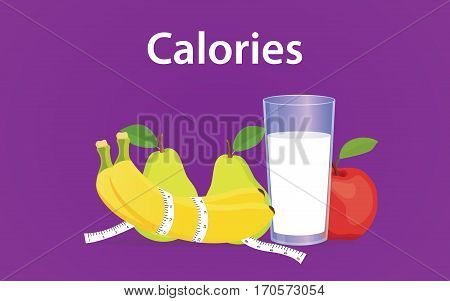 calories based diet illustration with milk, banana and apple vector