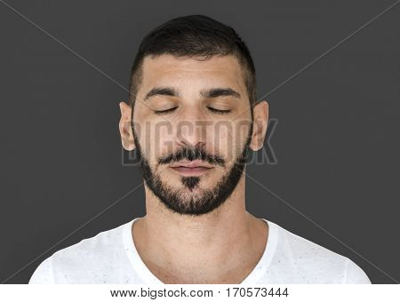 Middle Eastern Close Eyes Peaceful Calm Studio Portrait