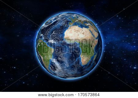 Blue Planet Earth From Space Showing America And Africa, Usa, Globe World With Blue Glow Edge On Spa