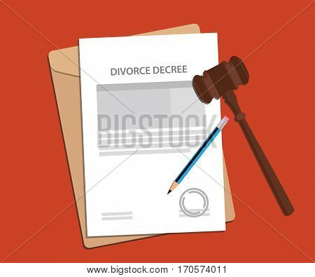divorce decree agreement concept illustration with paperworks, pen and a judge hammer vector