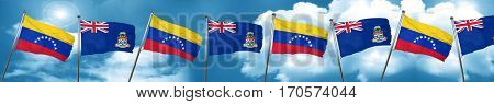 Venezuela flag with Cayman islands flag, 3D rendering