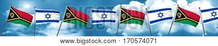 Vanatu flag with Israel flag, 3D rendering