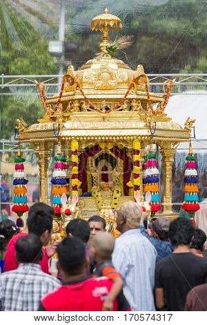 Georgetown Penang Malaysia - February 9 2017 : Detail of Golden carriage used as a religious symbol by devotees during Thaipusam festival on February 9 2017 in Malaysia. Hindu festival to worship God Muruga.