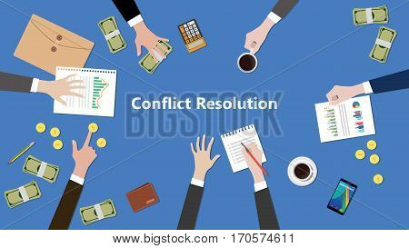 illustration of discussion about conflict resolution in a team work with paperworks on top of table vector