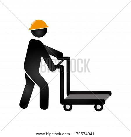 silhouette cartor truck for building with worker vector illustration