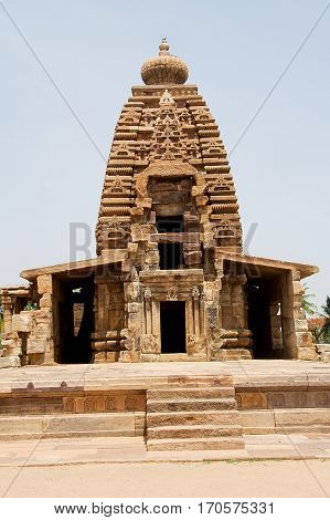 Frontal view of Galaganatha Temple at Pattadakal in Bagalkot district of Karnataka India Asia