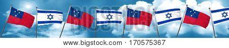 Samoa flag with Israel flag, 3D rendering