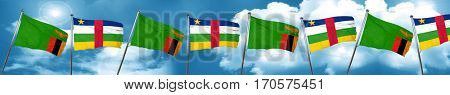 Zambia flag with Central African Republic flag, 3D rendering