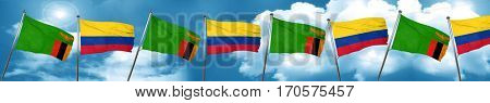 Zambia flag with Colombia flag, 3D rendering