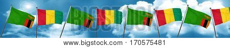 Zambia flag with Guinea flag, 3D rendering