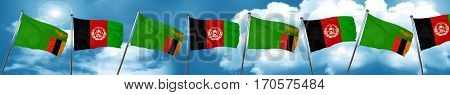 Zambia flag with afghanistan flag, 3D rendering