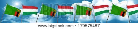 Zambia flag with Hungary flag, 3D rendering