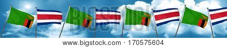 Zambia flag with Costa Rica flag, 3D rendering