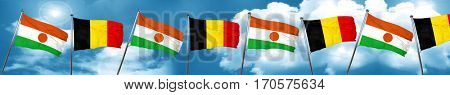 niger flag with Belgium flag, 3D rendering