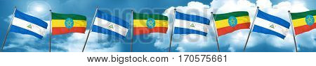 nicaragua flag with Ethiopia flag, 3D rendering