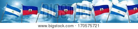 nicaragua flag with Haiti flag, 3D rendering