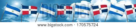 nicaragua flag with Dominican Republic flag, 3D rendering